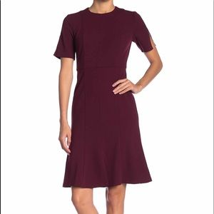 Nordstrom Burgundy Dress Women Bell Sheath Work